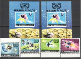 M232 IMPERFORATE,PERFORATE RAS AL KHAIMA SPACE PROGRAMS APOLLO 11 2BL+1SET MNH - Altri