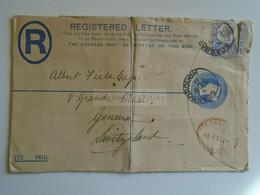 D184927  GB  -Registered COVER    1900 Scarborough - Sent To Albert Fiala -Geneva  Switzerland - Unclassified