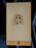Photo CDV Temporel à Genève  Portrait Jeune Femme Blonde  Belle Coiffure  CA 1890 - L567 - Oud (voor 1900)