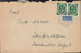 BRD 128 MeF, Waagerechtes Paar Auf Brief Mit Notopfer, Landpost-Stempel: Welver über Hamm ? - Covers & Documents