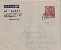RODHESIE DU NORD 1950     ENTIER POSTAL/GANZSACHE/POSTAL STATIONERY PLI AERIEN DE LIVINGSTONE - Northern Rhodesia (...-1963)