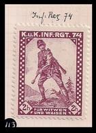 WW1 ERA GERMANY AUSTRIA HUNGARY CINDERELLA VIGNETTE K.u.K Widows And Orphans Of The 74th Infantry Regiment - Erinnofilia
