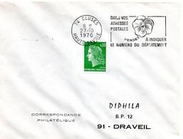 SAVOIE / HAUTE Dépt N° 74 = CLUSES 1970 = FLAMME SECAP ' PENSEZ à INDIQUER NUMERO DEPARTEMENT ' - Codice Postale