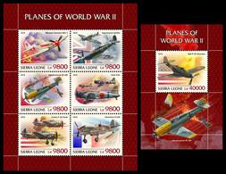 SIERRA LEONE 2018 - Planes Of WW2 - YT 8311-6 + BF1537, CV=38 € [SRL18813] - Seconda Guerra Mondiale