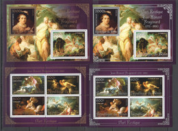 M267 2013 EROTIC ART SILVER GOLD JEAN-HONORE FRAGONARD 2KB+2BL MNH - Nudi