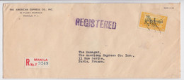 MANILA PHILIPPINE ISLANDS USA REGISTERED AIR MAIL COVER AMERICAN EXPRESS PARIS OVERPRINT STAMP PLANE TIMBRE AVION LETTRE - Philippinen
