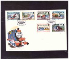 TEM15154  -   ISLE O FMAN   15.8.1995  /   FDC     MICHEL NR.   644/649 - Treni