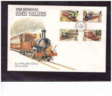 TEM15162  -   ISLE OF MAN  21.9.\1988     /   FDC     MICHEL NR.   381/384 - Treni