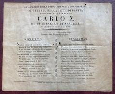 (Corse) Affichette Célébrant La Venue Du Roi Charles X. Bastia 4 Novembre 1825. Sonnet En Italien. Epigramme En Latin. - Manifesti