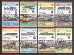 St Vincent Grenadines 1984 Mi 284-299 MNH TRAINS - Treni