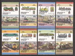St Vincent Grenadines 1986 Mi 458-473 MNH TRAINS - Treni