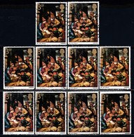 ! GREAT BRITAIN - Adoration Of The Shepherds / Lot Of 10 Used Stamps (k4654) - Natale