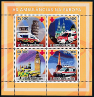 Sao Tome 2008 MNH 4v SS, Ambulance, Europe, Red Cross, Eiffel Tower, Pizza, Medical Transport - Croce Rossa