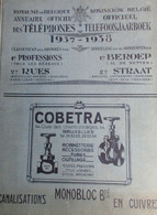 Telefoonjaarboek - Annuaire Des Téléphones - 1937-1938 - Telefoonboek Adresboek Genealogie Met Oa Gent Antwerpen Brussel - Storia