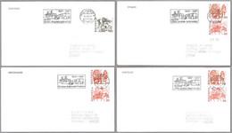 50 Años OFICINAS AMBULANTES DE CORREOS - 50 Ans Bureau De Poste Automobile. Set 4 Covers. Suiza1987 - Posta