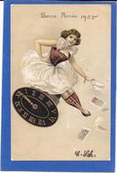 SURREALISME - Illustration Femme Assise Sur Horloge Distribuant Cartes - Non Classificati