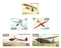 1982 - Russia 4933/37 Storia Del Volo A Vela - Aerei