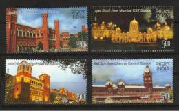 India 2009 MNH 4v, Heritage Railways Stations, Trains - Treni