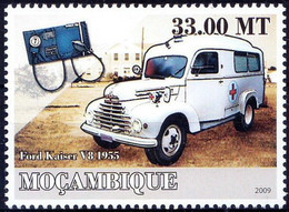 Mozambique 2009 MNH, Ambulance, Blood Pressure Instrument, Transport, Red Cross, Ford Kaiser Vehicle - Croce Rossa