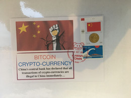 (5 A 14) China Officialy Banned Crytocurrency BITCOIN - Postmarked 15-10-2021 - China Flag & Coin Stamp - Monete