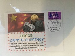 (5 A 14) China Officialy Banned Crytocurrency BITCOIN - Postmarked 15-10-2021 - Australian Woman Stamp - Monete
