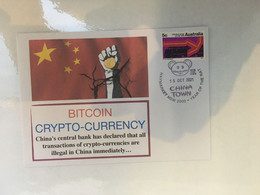 (5 A 14) China Officialy Banned Crytocurrency BITCOIN - Postmarked 15-10-2021 - Australian Railway Stamp - Altri