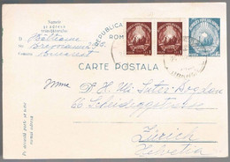 Romania, 1950,  For Zurich - Lettere
