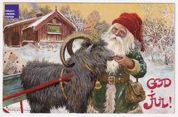 Jenny Nyström God Jul Noël 1908 CPA AK Suède Attelage Bouc Goat Carriage Hitch Sweden Christmas Père Santa Claus A57-38 - Santa Claus