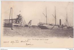 EGYPTE PORT SAID SUEZ UNE DRAGUE DANS LE CANAL 1906 CPA BON ÉTAT - Port Said