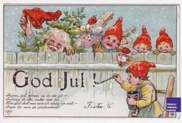 Jenny Nyström God Jul Noël 1905 CPA AK Suède Lutin Nain Gnome Hiver Neige Dwarf Sweden Christmas Père Santa Claus A57-40 - Santa Claus