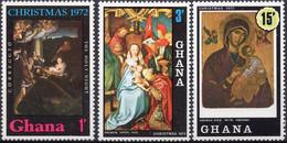 GHANA :1972: Y.449-54*** Postfris/neufs/MNH : KERSTMIS/NOËL/CHRISTMAS, SCHILDERIJEN/TABLEAUX/PAINTINGS,GLASRAMEN/VITRAUX - Religione