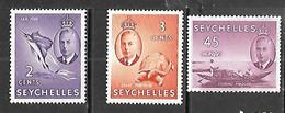 Seychelles Islands  1952   Sc#157-8, 162  2c, 3c, 45c  MH   2016 Scott Value $3 - Seychelles (...-1976)