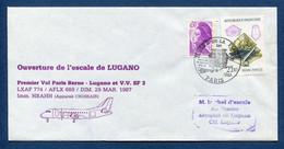 ✈️ France - Premier Vol - Paris - Lugano - Air France - Ouverture Escale - 1987 ✈️ - Aerei