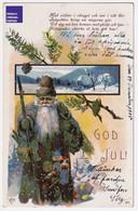 God Jul Noël 1905 CPA AK Suède Hiver Neige Poupée Cadeau Jouet Sweden Christmas Père Santa Claus Toy Doll Gift A57-41 - Santa Claus