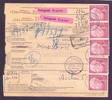 Bund Paketkarte Mit 3 Waagerechten Paaren Der 3 M. Heuss - Michel 500,00 € (164) - Covers & Documents