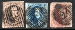 BÉLGICA Serie X 3 Sellos Sin Dentar LEOPOLD I Año 1851 - 1851-1857 Médaillons (6/8)