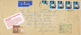 42042. Carta Aerea BULAWAYO (Rhodesia) 1976. Taxe, Tasa England. Por Sello Roto. TO PAY - Rhodesia (1964-1980)