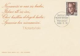 Poland FDC.2911: Tadeusz Kotarbinski 100 Y. - FDC