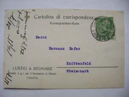 Cartolina Di Corrispondenz 1915 TRIESTE (Lustig & Bednarz, Lederhandels) - KNITTELFELD (Steiermark), Franz Joseph 5 H. - Austrian Occupation
