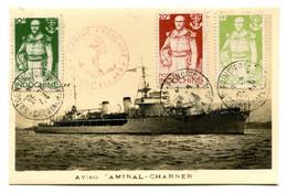 RC 21507 INDOCHINE 1944 AMIRAL CHARNER SUR CARTE MAXIMUM DE L'AVISO - MARINE FRANÇAISE. PAS COURANT - Storia Postale