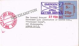 42045. Carta EMERGENCY INLAND, Southampton 1971. Label Stamp Service STRIKE. Huelga Servicio - Covers & Documents