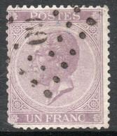 BÉLGICA Sello Usado EMISIÓN LEOPOLD I X 1 Franc Año 1865 - 1865-1866 Profil Gauche