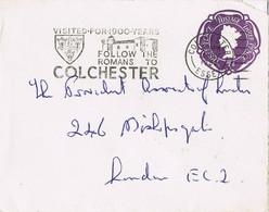 42046. Carta Entero Postal COLCHESTER , Essex (England) 1953. Slogan Touristic Romans - Covers & Documents