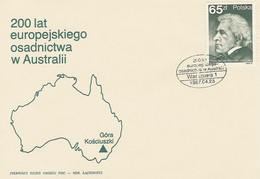 Poland FDC.2942: Settlement In Australia P.E Strzelecki Map - FDC
