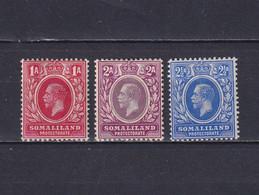 SOMALILAND 1912/19, SG# 61 - 63, Part Set, Personalities, MH - Somaliland (Protectorate ...-1959)