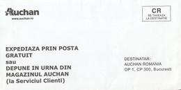 8717FM- AUCHAN COMPANY HEADER PREPAID COVER, UNUSED, ROMANIA - Lettere
