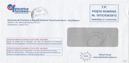 8722FM- ELECTRIC COMPANY HEADER PREPAID COVER, 2013, ROMANIA - Lettere