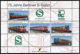 Germany 1999 Berlin S-Bahn 75th Anniversary City Railway Eisenbahn Electric Train Zug Metro Vignette Poster Reklamemarke - Treni