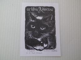 DE RICHARD MARTENS - POUR PAUL GIRAUD 1982 - GRAVURE SUR BOIS - SIGNEE ET N° 118/250 Ex - CHAT - Ex Libris