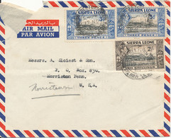 Sierra Leone Air Mail Cover Sent To USA Freetown 17-11-1950 Good Franked Cover Damaged At The Top In The Left Side - Sierra Leone (...-1960)